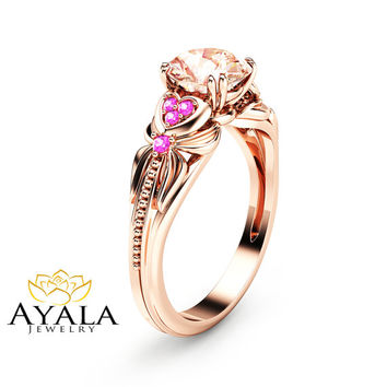 14K Rose Gold Morganite Engagement Ring Heart Shaped Ring Peach Pink Morganite Engagement Ring with Pink Sapphires