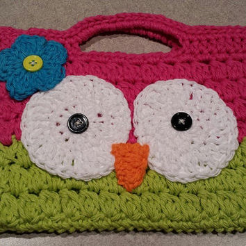 Crochet Cotton Owl Handbag / Purse