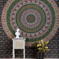 Floral Medallion Tapestry- Blue Multi One