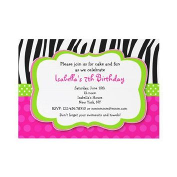 Zebra print Hot pink Bithday Party Invitations from Zazzle.com