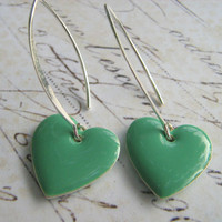 Seafoam Heart Earrings,  Mint Green Heart Earrings, Heart Earrings, Sterling Silver Enamel Heart Earrings