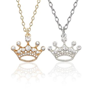 Luxury Crystal Crown Pendant Necklace Gold Silver Princess Crown Necklaces Pendants For Women Girls Lovers Valentine's Day Gifts