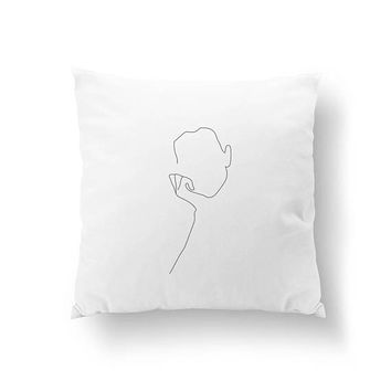 Female Body Pillow, Nude Sketch, Black And White, Home Decor, Cushion Cover, Throw Pillow, Minimalist Silhouette, Bed Pillow, Female Art