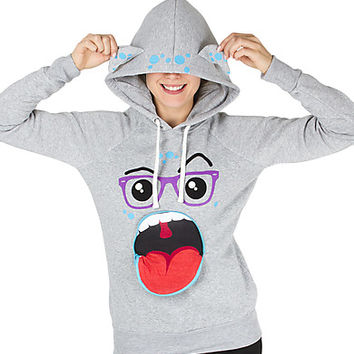Girls Monster Zip Face Hoodie