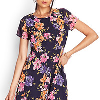 FOREVER 21 Painted Floral Skater Dress Navy/Pink