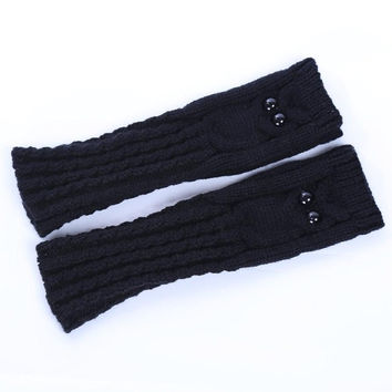 New Fashion Knitted Warm Women Gloves Owl Solid   Fingerless Gloves Mittens For Women Girls Gants Femme GS