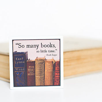 Vintage Books Magnet | So Many Books So Little Time | Frank Zappa Quote | Wood Square | Photography | Neodymium | Kitchen Decor