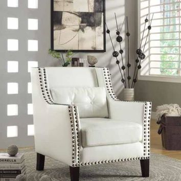 White faux leather upholstered accent side chair with squared arms and nail head trim accents