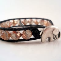 Leather Wrap Bracelet, Rosebud , Elephant Button, Chan Luu, Friendship Bracelet, PZW036