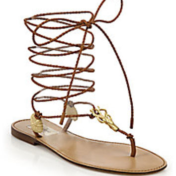 Valentino - Abyss Metal Seashell Braided Leather Lace-Up Sandals - Saks Fifth Avenue Mobile