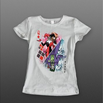 "DC COMICS JOKER AND HARLEY QUINN ""QUEEN OF HEARTS CARD"" LADIES T-SHIRT"