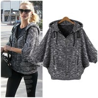 Black Bat Sleeve Hooded Knitted Jacket
