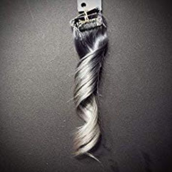 "8"" Chrome Silver to Ash Silver Ombre Highlights Clip In Remy Human Hair Extensions Unicorn Mermaid Hair Styles"