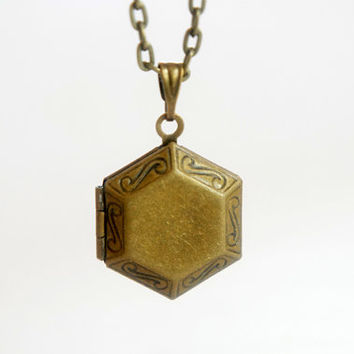 Tiny Old Hexagon Locket - Vintage Style Antiqued Brass Hexagon Locket Necklace - LN025