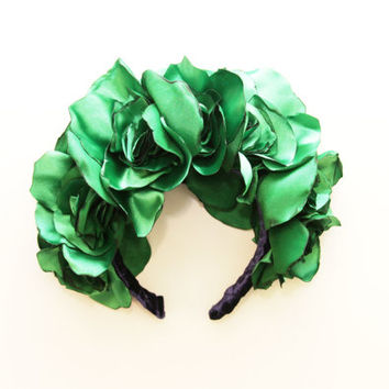 EMERALD/ Fabric flower kokoshnik / floral crown-OOAK - Ready to Ship