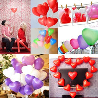 8 Colors 100pcs Heart Shaped Latex Balloons Wedding Birthday Party Decoration = 1931879556