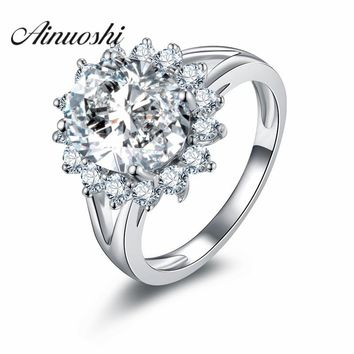 AINOUSHI Flower Shape Solid 925 Sterling Silver Wedding Engagement Halo Ring Jewelry 4 Carat Round Cut Sona Simulated Band Ring