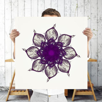 Purple Mandala Art Print - Printable Fractal Art | Bohemian Decor | Digital Poster, Mandala Wall Art