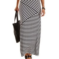 Black/White Mixed Stripe Maxi Skirt by Charlotte Russe