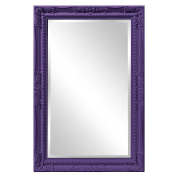 "Howard Elliott Queen Ann Rectangular Glossy Royal Purple Mirror 24"" x 36"" x 1"""