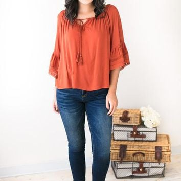 Ruffles and Rust Peasant Top