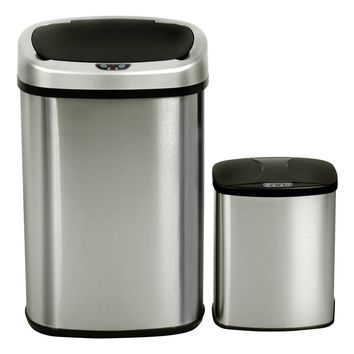 Set of 2 Touch-Free Motion Sensor Bins Trash Cans Stainless Steel