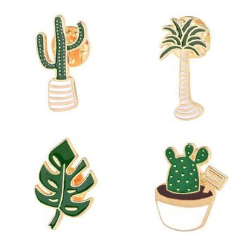ac PEAPO2Q Lovely Badge Plant Potted Collar Shoe Lips Enamel Brooch  Coconut Tree Cactus Leaves Decorative Clothing Cartoon Pins Badge