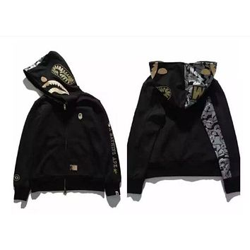 LMFIH3 Large size loose men and women new black gold embroidery space cotton shark hooded sweater jacket