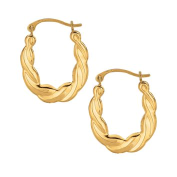 10K Yellow Gold Shiny Twisted Small Oval Hoop Earring  with Hinged Clasp