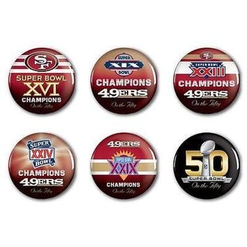 SAN FRANCISCO 49ERS PAST SUPER BOWL CHAMPIONS ON THE FIFTY BUTTONS 6 PACK SET