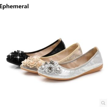 Ladies soft sole shoes loafers pointed toe flowers ballet flats comfortable driving dancing footwear microfiber gold silver