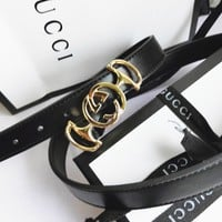 GUCCI Fashionable Women Men Chic Smooth Buckle Leather Belt