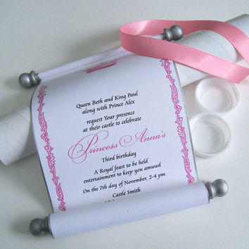 Royal princess invitation scrolls with mailing tubes, guest addressed labels