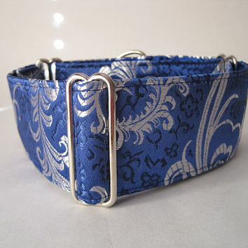 2 inch Silk Martingale Collar, Blue Martingale Dog Collar, Silk Brocade, Silk Dog Collar, Custom Dog Collar, Greyhound Collar