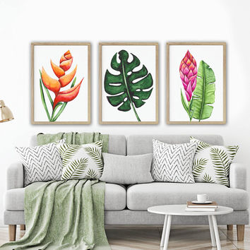 TROPICAL WATERCOLOR Wall Art, Watercolor Banana Leaf Living Room, Botanical Pictures, Tropical Watercolor Artwork, Set of 3 Canvas or Print