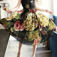 Black Floral Print Short Sleeve Mid-Calf Chiffon Dress