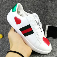 GUCCI Woman Fashion Heart-Shaped Flats Shoes Sneakers Sport Shoes