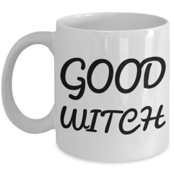 Good Witch Coffee Mug For Women 2017 Holiday Gift Tea Cup Gifts For Her White Ceramic Halloween Mugs Cups Jars For Candy & Coloring Pens