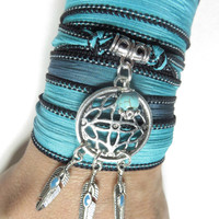 Bohemian Dream Catcher Silk Wrap Bracelet,Yoga Jewelry,Spiritual Wrist Band,Feather,Turquoise Bracelet,Dream Catcher Necklace,Unique Gfit