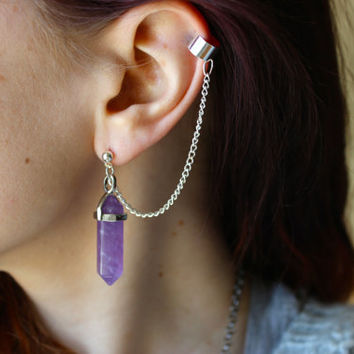 Amethyst Dangle Chain Ear Cuff Set, Amethyst Ear Cuff Set, Amethyst Dangle Earring Cuff Set, Amethyst Ear Jewelry, Semi-Precious Stone Ear