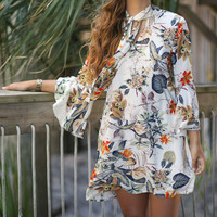 Awesome Blossom Floral Print Trumpet Sleeved Shift Dress