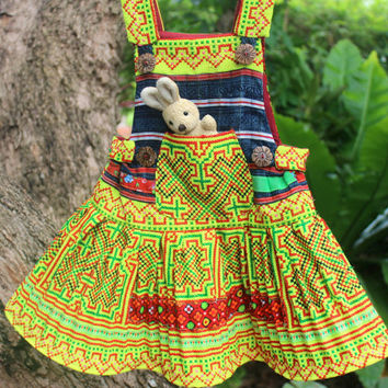 Little Girls Hmong Dress In Bright Yellow And Red Ethnic Embroidery With Indigo Batik