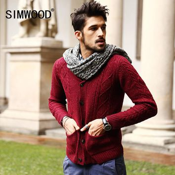 Men's 70% Wool Mens Sweaters Winter Autumn Cardigan Men 2016 New Fashion Casual Slim Pockets Red Sweater Brand Clothing MY331