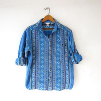Vintage tribal shirt. Embroidered button up shirt. Geometric print shirt. Baja shirt.