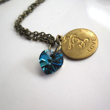 Ai. Crystal Vitrail Medium Swarovski heart Pendant Love Font in Japanese Brass disc tag Necklace
