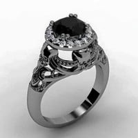 Skull Engagement Ring Black Diamond