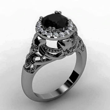 Skull Engagement Ring 14 k