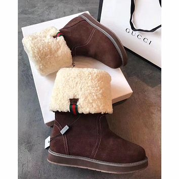 Sale Gucci Snow Wool Boots Brown Women Gaotong Boots Thickened Flat Shoes-1