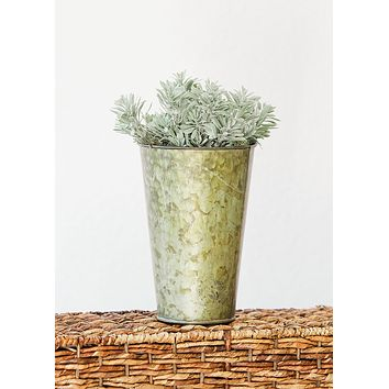 """Galvanized French Metal Floral Bucket  - 8"""" Tall x 5.25"""" Wide"""