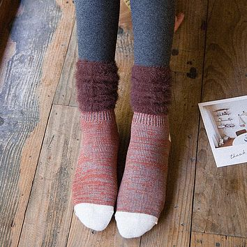 Winter Women Vintage Fluffy Warm Socks Fashion Ladies Female Patchwork Thick Knee Knit Sock Hosiery